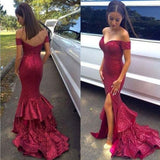 Siaoryne Off the Shoulder Formal Women Gowns Burgundy Sequins Prom Dress Mermaid