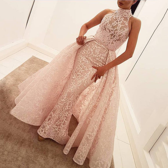 Halter Lace Detachable Pink Long Prom Dresses 2018 Party Gown vestido de baile