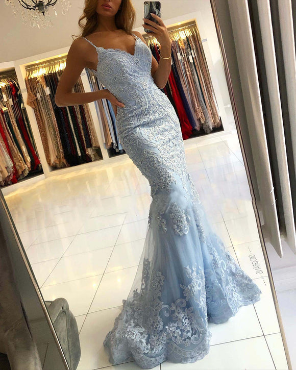 Sky Baby Blue Mermaid Senior Prom Dresses with Lace Aqqpliqued Formal Gown with Straps PL01109