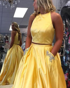 Bright Yellow Two Piece Senior Prom Long Dress for Graduation with Beading Pocket PP854