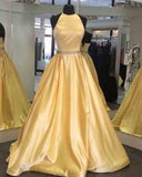 Yellow halter Girls Graduation Long Prom Dresses 2019 PL7415