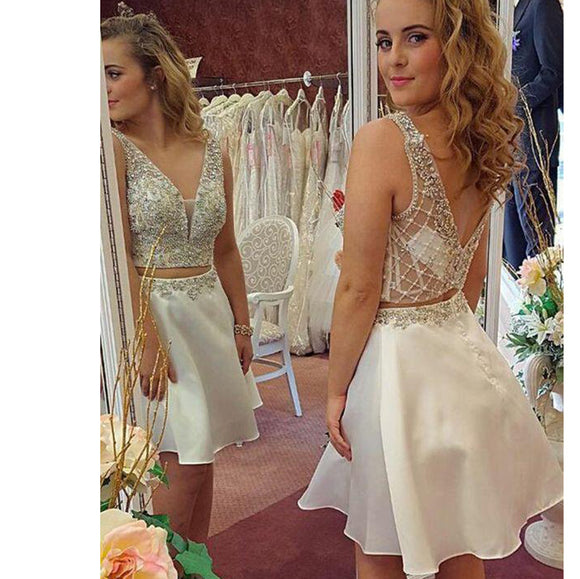 Sexy Beading V Neck Crop Top Two Pieces Short Prom Dress new Homecoming Gown