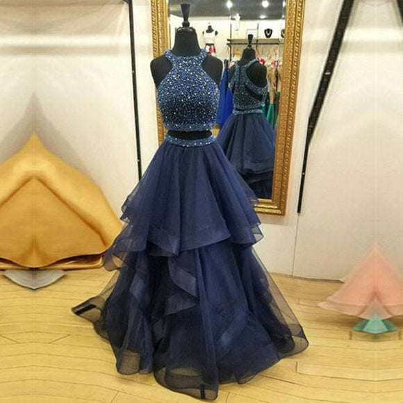 Stylish Halter Crop Prom Dresses Long 2018 Formal Gown Tiered full Skirt Navy Homecoming Party