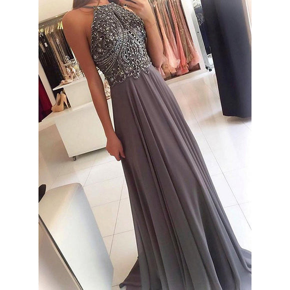 Dramatic Grey Halter Chiffon Long Prom Dresses with Beading Senior Homecoming Formal Dress for Girls