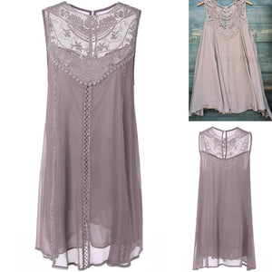 Grey Lace Casual Dress Summer/Spring Winter Sundress 2018 Oversize fashion Vestido