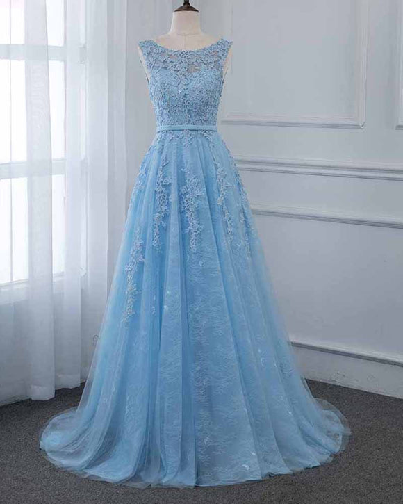Scoop A Line Light Blue Tulle Lace Long Prom Formal Gown PL6845