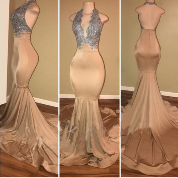Halter Gold Sequins Long Africa Women Evening Prom Dresses Mermaid Gown LP698