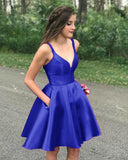 Siaoryne Junior Girls Red Short Homecoming Dress Satin Spaghetti Backless with Pockets Graduation Party Gown SP9922