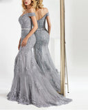 Siaoryne Off Shoulder Gray Mermaid Lace Evening Dress Long Women Prom Gowns PL20143