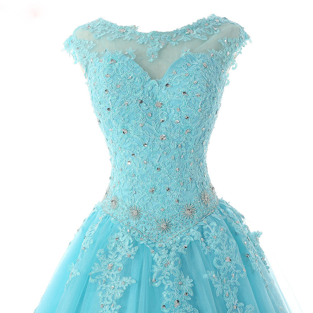 55f3e6ae67 ... Cap Sleeves Baby Blue Lace Ball Gown Quinceanera Dresses Girls  Debutante Prom Gown for Sweet 16 ...