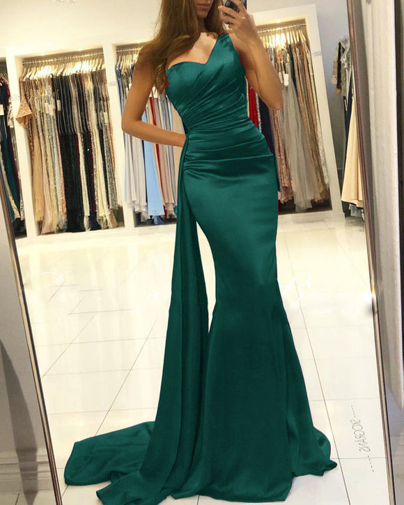 On Sale Online Shop One Shoulder Cheap Mermaid Prom Dress Long Formal Gowns PL011123