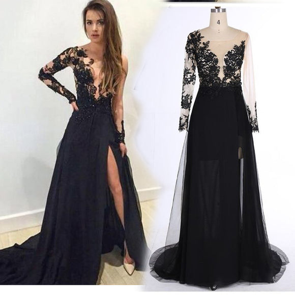 LP3380 Long Sleeves See through Black Lace Evening Dresses 2018 Sexy Slit Formal Prom Gown