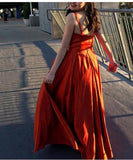 Amazing Wine Red /Green/yellow Long Formal Prom Dresses 2020 Straps Gown with high Slit PL8773
