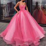 Stunning Long Corset Sweetheart Pink Ball Gown Quinceanera Gown Prom Wedding Engagement Dress vestido