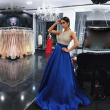 Elegant Royal Blue  Beading Long Evening Dress Girls Senior Graduation Prom Gown 2018
