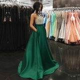 Sexy A Line Rhinestones Prom Dresses Halter Long Halter Satin Beaded Women Formal Evening Dress