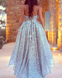 Light Blue high Low lace Prom Dress Girls Graduation Party Gown LP0210