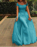 Fancy Cap Sleeves Mermaid Prom Dress with Cape Long Girls Formal Party Dresses