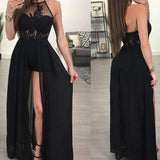Gorgeous Black Halter Sexy Long Evening Dress Lace Backless Prom Party Gown 2018