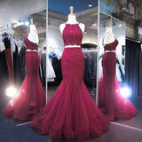 Two Pieces Prom Dress 2018 Burgundy Formal Evening Gown Long with Appliques Beaded Tulle dress for graduation Evening Prom Dress
