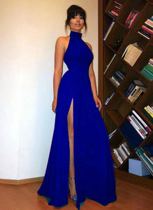 Blue Halter Prom Dress Long A Line Elegant Long Homecoming Dress with Slit