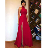 High Neck Red Long Prom Dress Sexy High Split  Women Evening Party Formal dresses