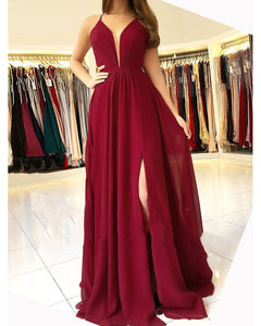V Neck Burgundy Prom Dress 2019 with Slit with Spaghetti Straps Long Party Gown