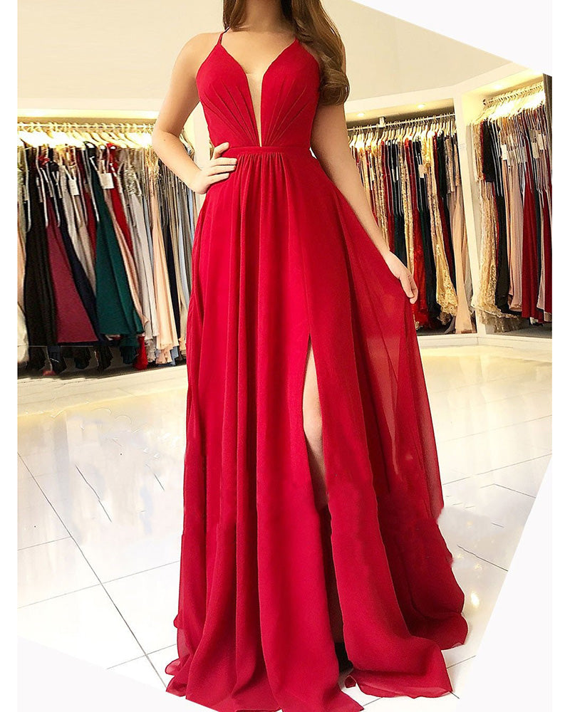 V Neck Burgundy Prom Dress 2019 with Slit with Spaghetti ...