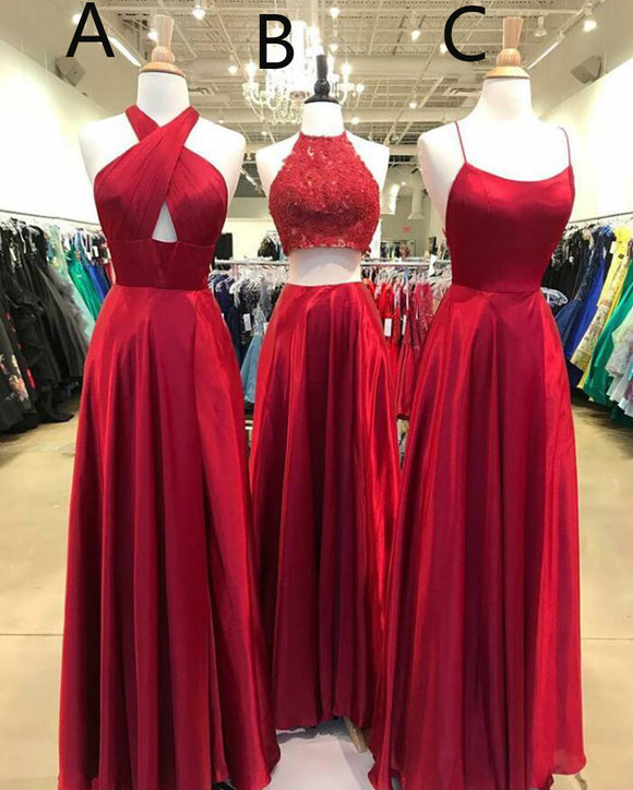 Custom Made Long Senior Prom Dress Red Formal Gown Women Evening Party Gown LP362