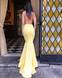 Halter Backless Bright Yellow Evening Dresses Long Fitted Formal Wear LP065