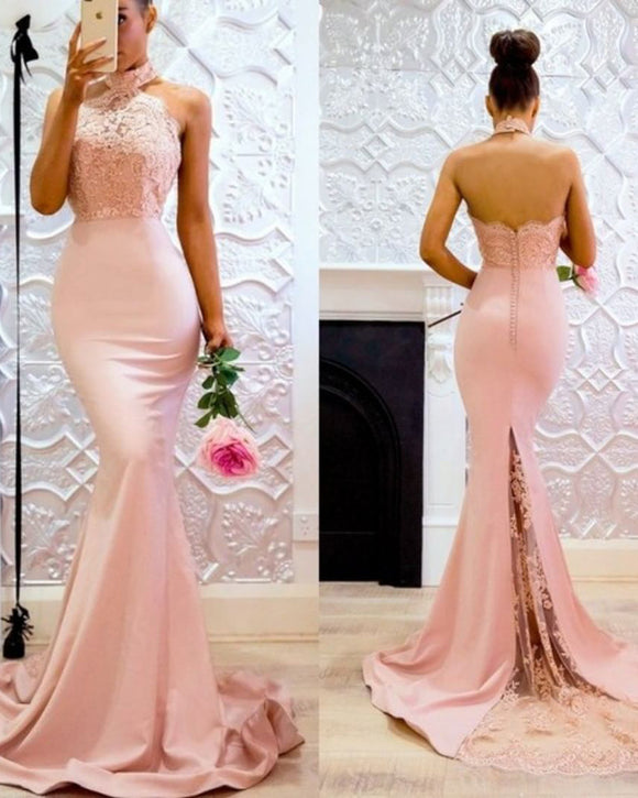 Halter High Neck Pink Bridesmaid dress Long Mermaid Evening Party Gown LP305