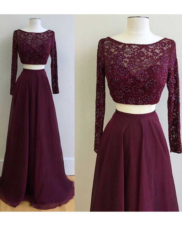 Maroon prom Dress Crop Top Long Sleeves Lace Sequins Formal Wear LP365