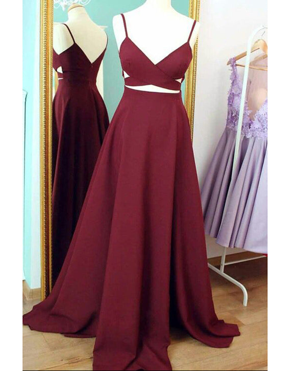 Maroon Prom Long Dress with Spaghetti Straps A Line Formal Evening Gown LP358