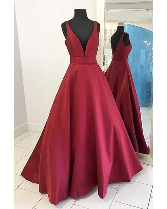 Wine Red Sexy v Neck Senior Prom Dress Long Homecoming Gown LP358
