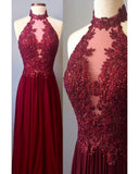 High Neck 2019 Prom Dresses Long Lace Senior Burgundy graduation Long Gown LP690