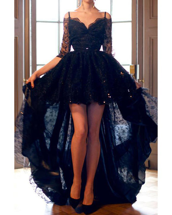 Evening Gown 2019 Long Sleeves Black Lace Prom Dress High Low Sexy Backless vestidos de gala