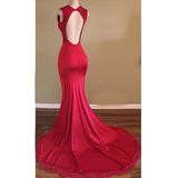 Deep V Neck Red Fitted Prom Dress Long Evening Party Gown 2019