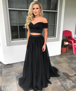 Off the Shoulder Black Crop Top Prom Dresses Two Pieces Girls Senior Graduation Long Dress