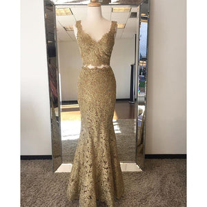 Gold Two/2 Pieces Prom Dress Crop Top Lace Long Prom Dresses Girl Long Formal Gown