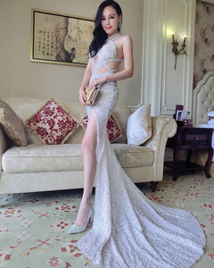 Halter Women Formal evening Dresses Luxury Prom Dress Long Full Sequins Vestido De Festa LP334