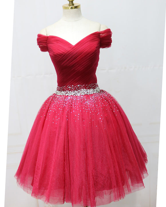 Red Short Prom Dress off the Shoulder Girls 8th Graduation Homecoming  Gown with Beading Belt