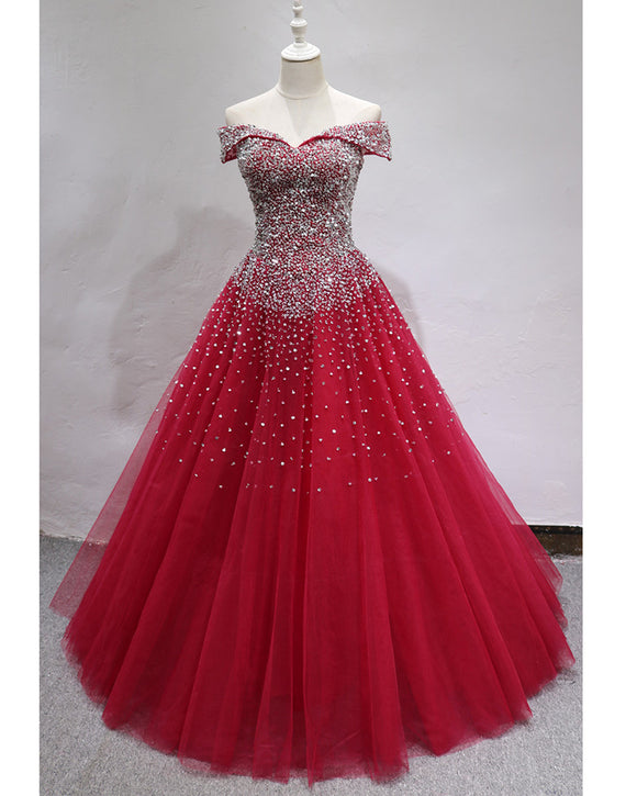 Bling Bling Off the Shoulder ball Gown Prom Dress with beading Girls  Quinceanera Sweet 16 Dress