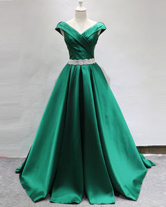 Green A Line Satin Prom Dresses Long Formal Graduation  Gown with Belt LP654