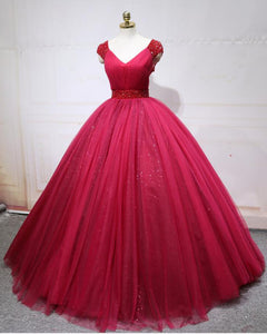 Princess Cap Sleeves Wine Red Ball Gown Quinceanera Dress Cap