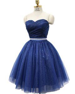 Glitter Cheap Royal  blue girls party Dress Short Evening Dresses with Belt SP744