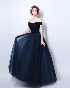 Navy Off the Shoulder Tulle Long Prom Dress Women Evening Party  Gown Long LP554