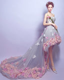 Sweetheart Flowers High Low Prom Dresses Girls Vestido  Party Gown LP689