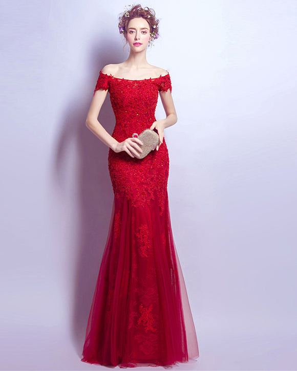Off the Shoulder Short Sleeve Red Lace Dresses Prom Mermaid Formal Party Dress Long