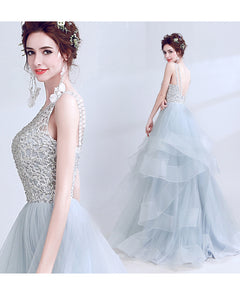 Scoop Neck Formal Gown Lace Beaded Ball Gown  Sky Blue Prom Dresses LP4521