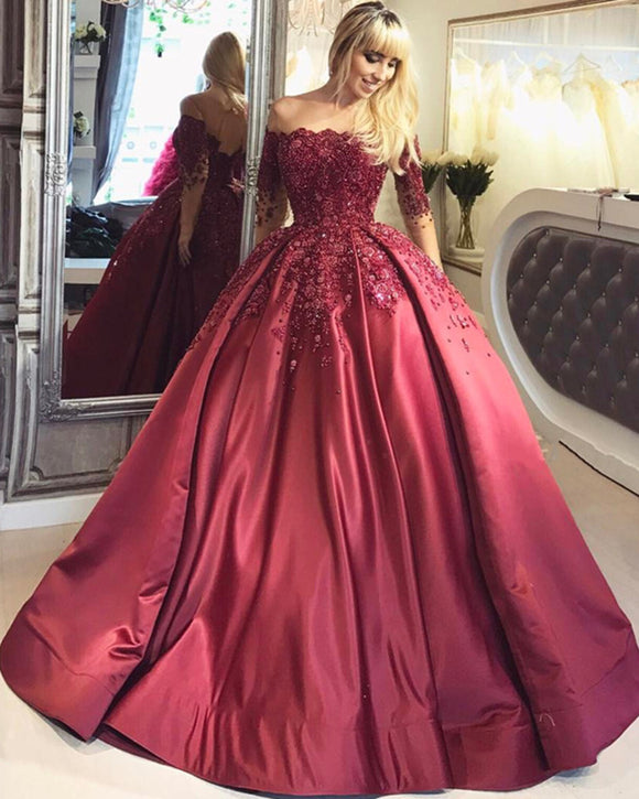 Bungundy Quinceanera Dresses Ball Gown Long Half Sleeves Appliques Lace for Prom Sweet Sixteen 16 Dresses vestidos de 15 anos